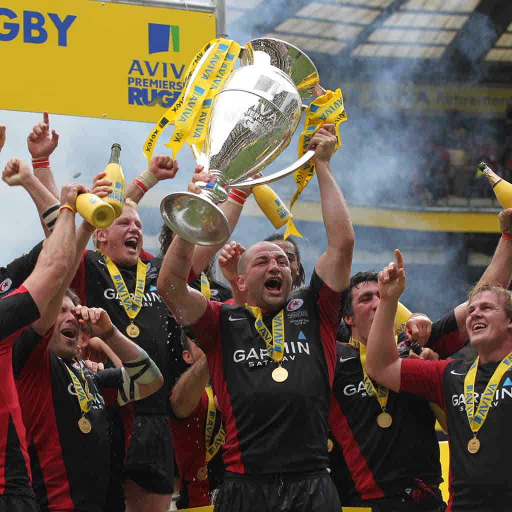 Saracens celebrate winning Aviva Premiership, 28/05/2011