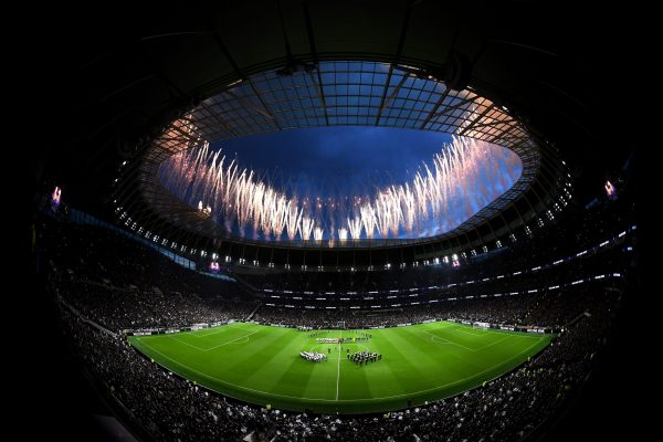 LONDON, ENGLAND - APRIL 03: General view inside the stadium as fireworks are seen during the Opening Ceremony of the Tottenham Hotspur Stadium prior to the the Premier League match between Tottenham Hotspur and Crystal Palace at Tottenham Hotspur Stadium on April 03, 2019 in London, United Kingdom. (Photo by Tottenham Hotspur FC/Tottenham Hotspur FC via Getty Images)